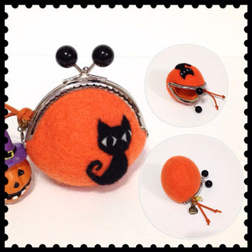 Wool Felt Purse Coin Purse Orange Felted Purse Halloween Accessory Halloween Bag Purse Needle Felted Black Cat Purse Gift ideas
