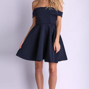 Blue Off-Shoulder Mini Dress