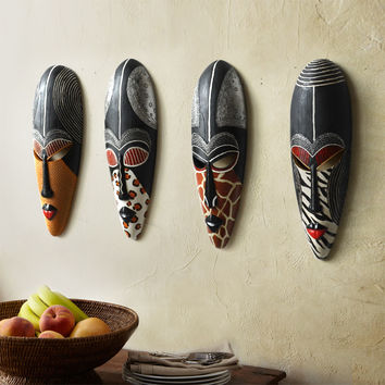Exotic African Masks Hanging Wall Mural