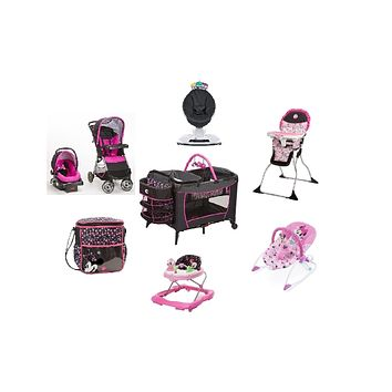 Disney Minnie Pop Complete Baby Gear Baby Bundle with Swing, Bouncer & Diaper Bag