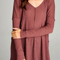 Seamed Cozy Thermal Tunic in Burgundy