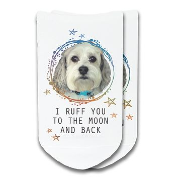 Custom Printed Pet Photo No-Show or Crew Socks - I Ruff You to the Moon and Back