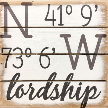 Weathered Coastal Plank Board Sign with Coordinates for Lordship, Stratford, CT