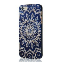MOLLYCOOCLE Painted Series PC Case Beige Totem Flower Pattern Cover Dark Blue Skin Shell for iPhone 5 5S 5G