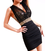 Women Sequin Stretch Bodycon Sleeveless Sexy V Neck Cocktail Party Mini Dress