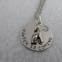 Game of Thrones Inspired - House Stark - Winter is coming with Grey Wolf Charm