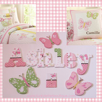 Hand Painted Camille Butterfly Wooden Nursery Letters