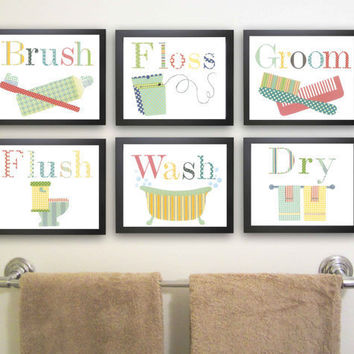 Bathroom Nursery Art Print. Children Decor. Bathroom art. Wash, Brush, Flush, Floss, 8 x 10 kid's art. Bathroom decor. Bathroom Manners.