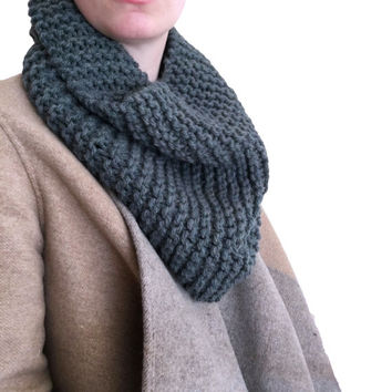 Outlander Style Scarf, Cowl, Unisex Blue Grey Infinity Chunky Knit, Stocking Stuffer, Gift, Present