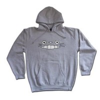Cheshire Totoro Face Gray Hooded Sweatshirt