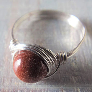 Goldstone Wire Wrapped Ring - Goldstone Jewelry - Silver Wire Ring - Dark Orange Ring - Unique Rings - Gift for Best Friend - Glitter Ring