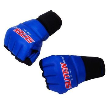 CREYLD1 New MMA Muay Thai Training Punching Bag Mitts Sparring Boxing Gloves Gym Men Fitness Fight half finger PU Boxing Gloves