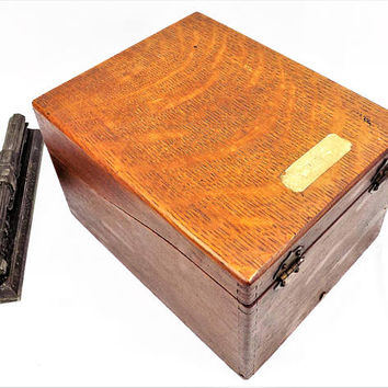 Wood File Box, Hinged Lid, Sliding Card Keeper, Vintage Office