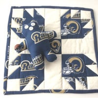 St Louis Rams, Rams Mini Quilt,  Rams Trivet, Rams Hot Pad, St Louis Coaster, RamsTable Topper, Rams Man Cave