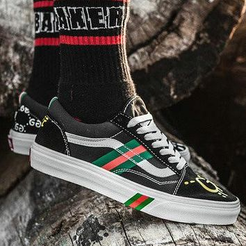 VANS & GUCCI Co-brand Classic High-end Hand-painted Rainbow Bottom top Skateboard shoes Canvas shoes F0376-1 black