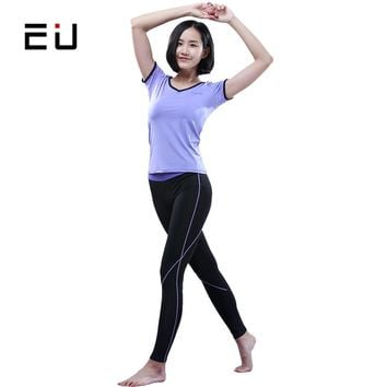 EU Women Sports Wear Quick Dry Gym Fitness Sport Cloth for Women Summer Sport Suit  Women's Yoga Suits Sets Compression Pant Set