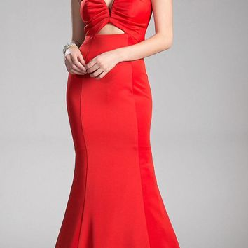 Red Mermaid Prom Gown Plunging Neck Cut-Out Back