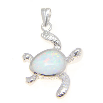 INLAY WHITE OPAL HAWAIIAN SWIMMING HONU TURTLE PENDANT STERLING SILVER 925