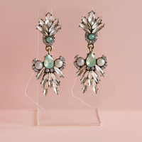 Clear Crystal and Mint Green Statement Earrings - Free Shipping!