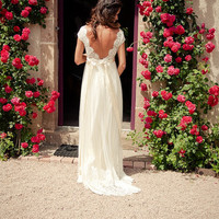Open Back Lace Wedding Dress - A line V neck Simple Cap Sleeves Lace Wedding Dresses , Wedding Gowns,Lace Backless Bridal Gowns with Sash