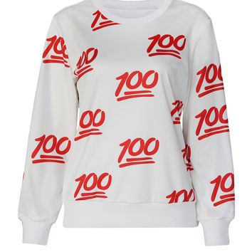 White 100 Emoji Print Long Sleeve Sweatshirt