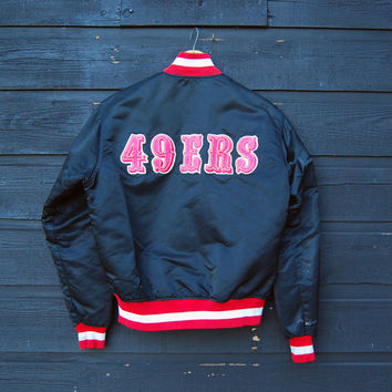 San Francisco 49ers Jacket | Vintage forty Niners Pro Line Starter Jacket | 80's Vintage NFL Football | Black Satin Bomber Jacket |  S M L