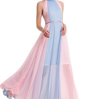 Gentle Pink and Blue Prom Dress