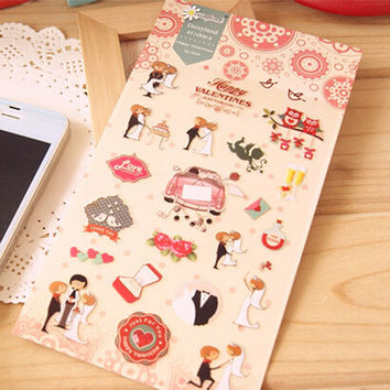 1 x Daisyland Happy Wedding adhesive paper sticker decorative diy scrapbooking planner sticker post it kawaii stationery