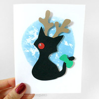 Christmas Card, Black Cat Card, Pet Art, Rudolph Red Nose Reindeer, Blank Paper Cut Card, Happy Holidays, Xmas Card, Personalized Message