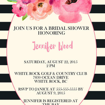 Printable black and white striped floral bridal shower invitation