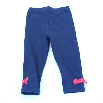 DISNEY blue leggings trousers with red bows 18-24 Months Baby Girls Clothes