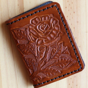 Rose Wallet, Hand Carved Leather Wallet, Hand Tooled Leather Billfold, Hand Stitched Wallet, Bifold Wallet, Handmade Credit Card Wallet