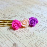 Pretty In Pink Flowers Golden Hair Pins Set