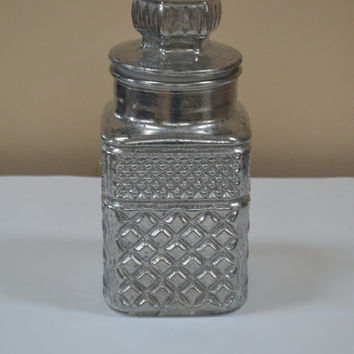 Mercury Glass Jar with Lid, Diamond Pattern, Quilted Glass Jar, Ornate Vanity Jar, Metallic Glass, Silver in Color, Faux Finish