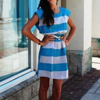 Aqua & White Striped Short Sleeve Dress with Belt