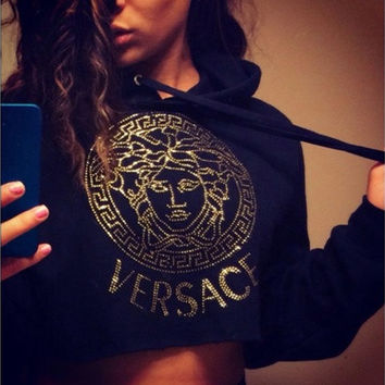 Black Sweatshirt Women Fashion Fall Winter Long Sleeve Gold Crop Top Hoodie Swag Dope Cropped Sweatshirt S- XXL [8833923788]