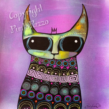 Whimsical Cat art, animal Totem,spiritual art,original painting on paper,cat lovers gift,shamanism