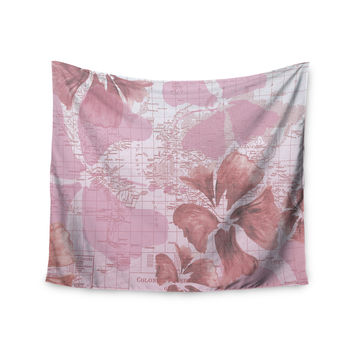 "Catherine Holcombe ""Flower Power Pink"" Map Wall Tapestry"