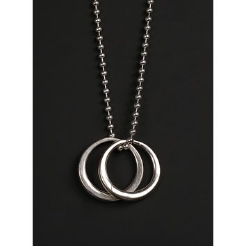 Sterling Silver Double Rings Men's Necklace
