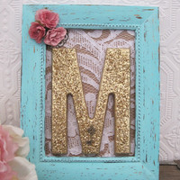 Letter M Nursery Decor Baby Girl Nursery Art Mint Green Pink Flowers Lace