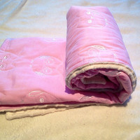 Soft minky baby blanket beautiful gift for a baby girl with pink owls quilted into the top fabric
