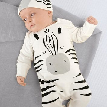 Baby Rompers Long Sleeve Cotton Jumpsuit Baby Infant Cartoon Zebra Newborn Baby Clothes Romper+Cap Toddler Outfits