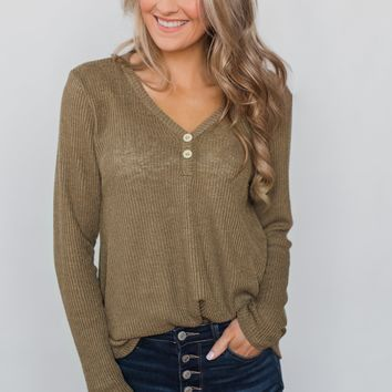 Cool Morning Two Button V-Neck Henley- Mocha