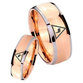 His Hers Rose Gold Dome Masonic Yod Two Tone Tungsten Wedding Rings Set