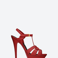 Saint Laurent CLASSIC TRIBUTE 105 SANDAL IN RED LEATHER | ysl.com