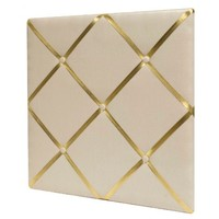 "White Linen Bulletin Board with Gold Straps 20""x20"" - Pillowfort™"