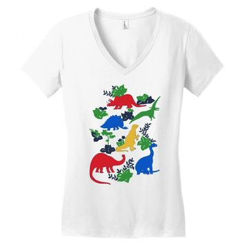 dinosaurs Women's V-Neck T-Shirt