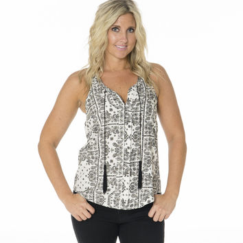 Free Spirit Patterned Tank with Tassels