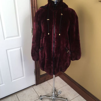 BEAUTIFUL CRANBERRY RED DYED SHEARED BEAVER FUR COAT JACKET W/ HOOD SIZE LARGE