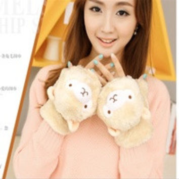 new Gloves in winter female lovely Grass Mud Horse Half Finger flip Alpaca Plush Korean thick warm cartoon lady gloves = 1958069380